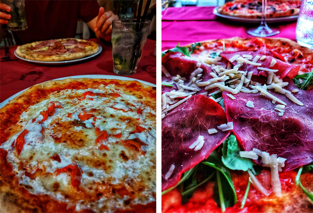 On the left side: Al Salmone pizza with a huge amount of cream and smoked salmon, in the background there's a Bianca Rosa pizza with full of Italian ham. And on the right side you can see the most wonderful bresaola ham I've ever tasted...