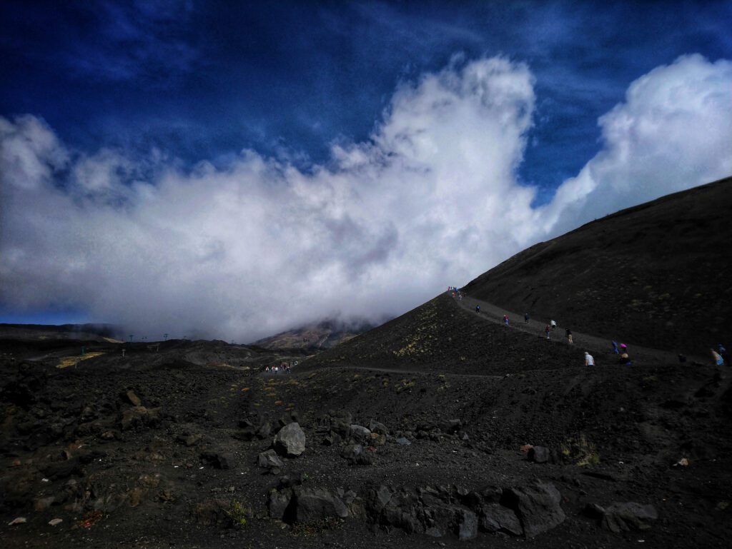 Steep path to the upper Silvestri Crater at Mount Etna Sicily Italy