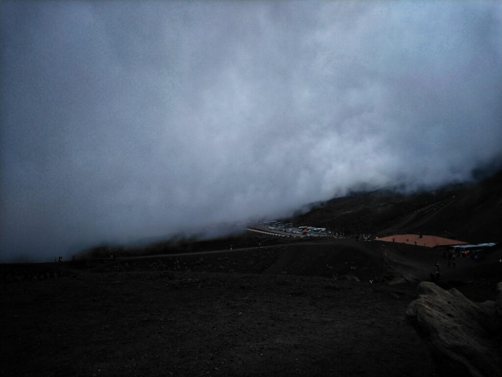 Low clouds on Mount Etna Sicily Italy