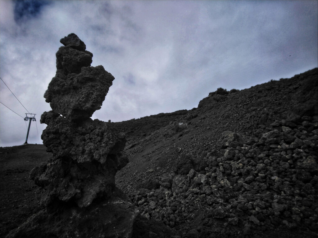 Lava stones everywhere at 2500 meters on Mount Etna Sicily Italy
