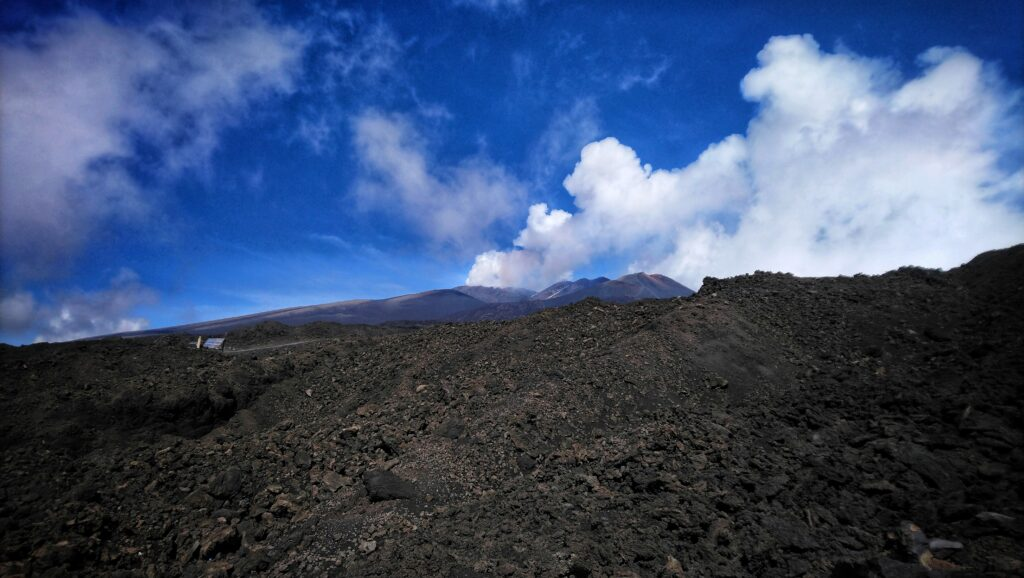 The smoking peak of Mount Etna from 2500 meters Sicily Italy