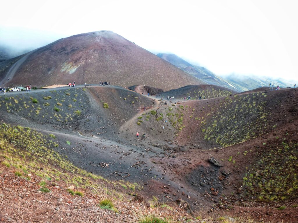 The lower Silvestri Crater with the upper one in the background on Mount Etna Sicily Italy
